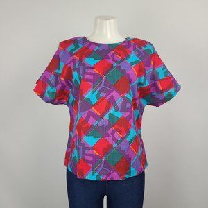Vintage Sterling Stall Graphic Print Cotton Top Size M